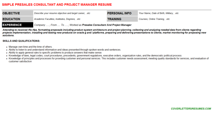 Presales Consultant And Project Manager CV Cover Letter & Resume ...