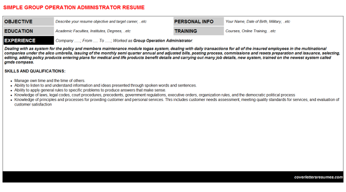 Group Operation Administrator Resume Template (#6012)