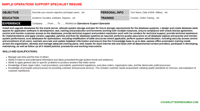 Operations Support Specialist Resume Template (#1012)