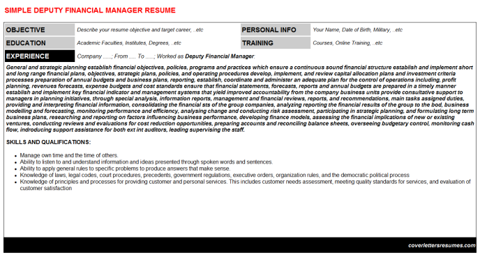 Deputy Financial Manager Resume Template (#1129)