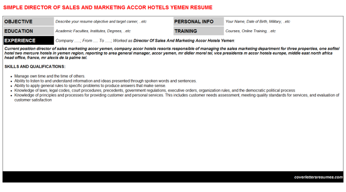 Director of sales and marketing accor hotels yemen cv cover letter & resume