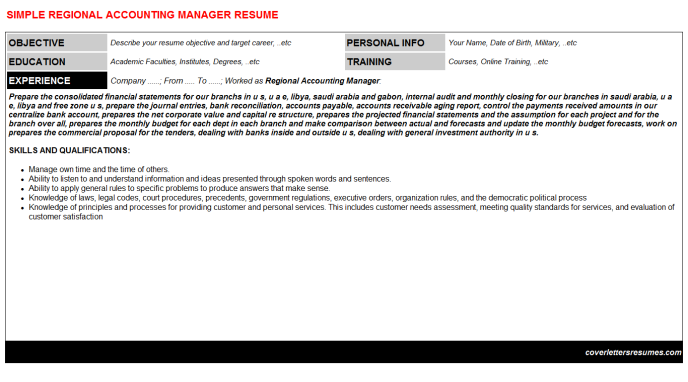 Regional accounting manager cv cover letter & resume