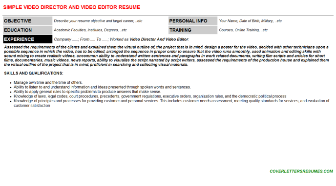 Video Director And Video Editor Resume Template (#33634)