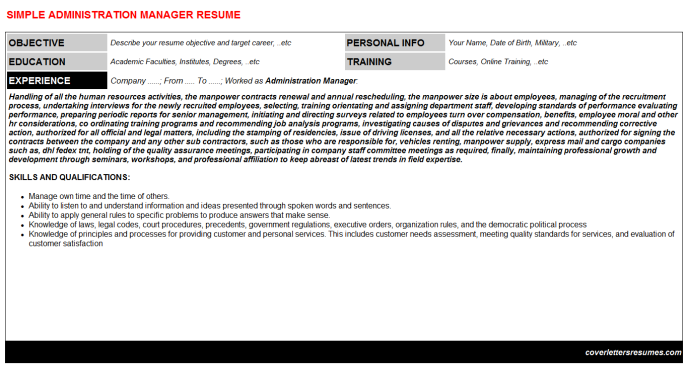 Administration manager cv cover letter & resume