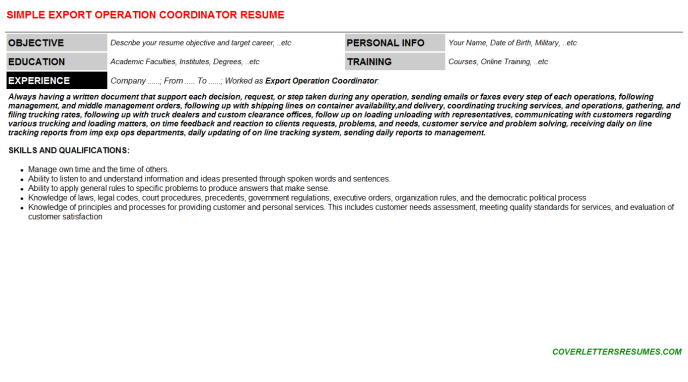 Export Operation Coordinator Resume Template