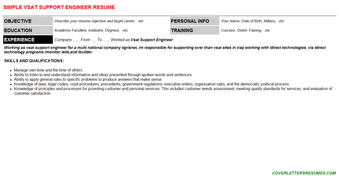 Vsat Support Engineer Resume Template