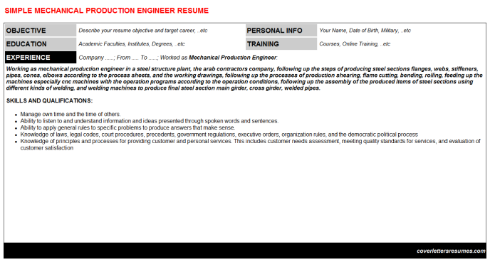 Mechanical Production Engineer Resume Template (#35137)