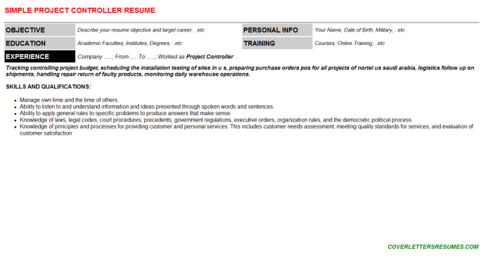 Project Controller CV Cover Letter & Resume Template (#95137)