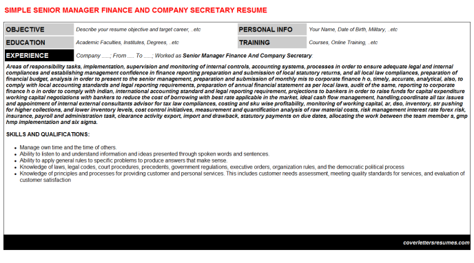 Senior Manager Finance And Company Secretary Resume Template