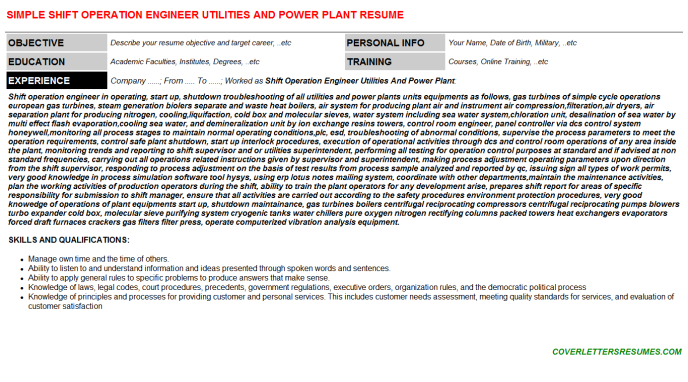 Shift Operation Engineer Utilities And Power Plant Resume Template (#41138)