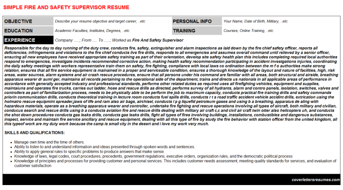 Fire And Safety Supervisor Resume Template