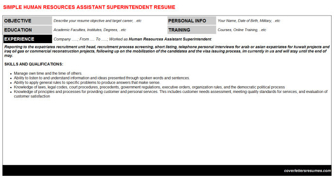 Human Resources Assistant Superintendent Resume Template
