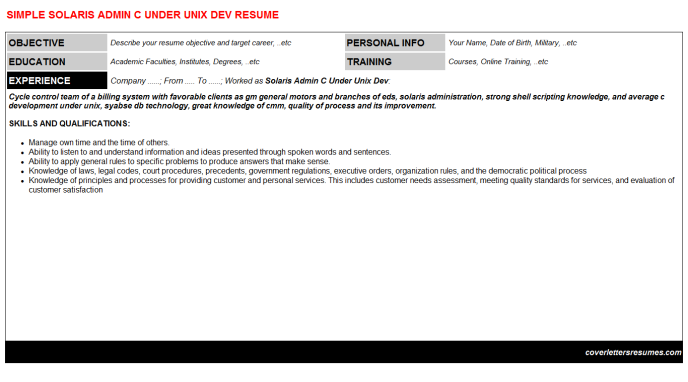 Solaris Admin C Under Unix Dev Resume Template