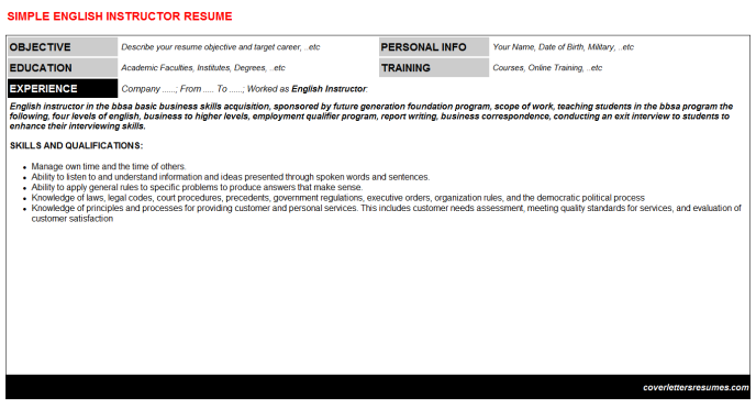 English Instructor Resume Template