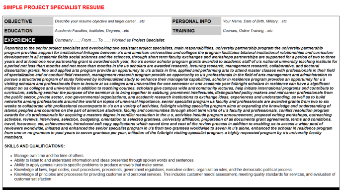 Project specialist cv cover letter & resume