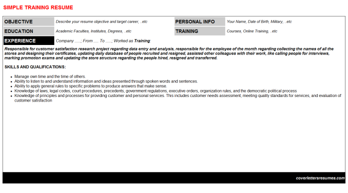 Training Resume Template