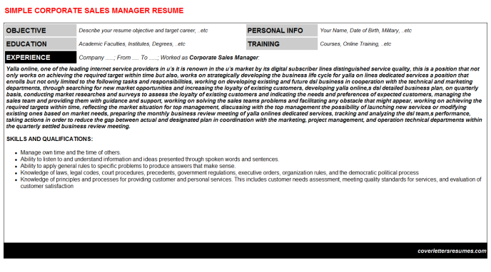 Corporate Sales Manager Resume Template (#642)