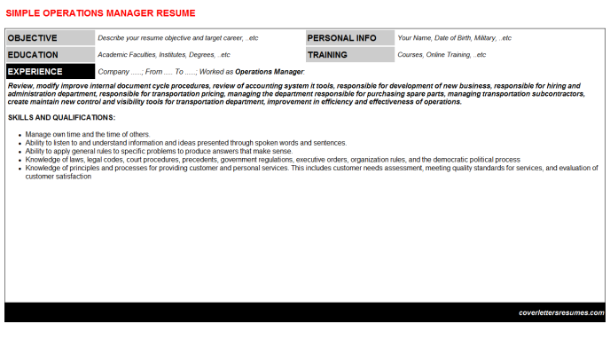 Operations Manager Resume Template (#21143)