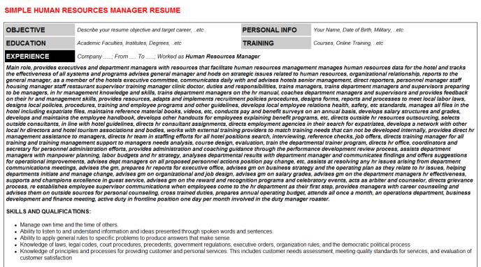 Human resources manager cv cover letter & resume