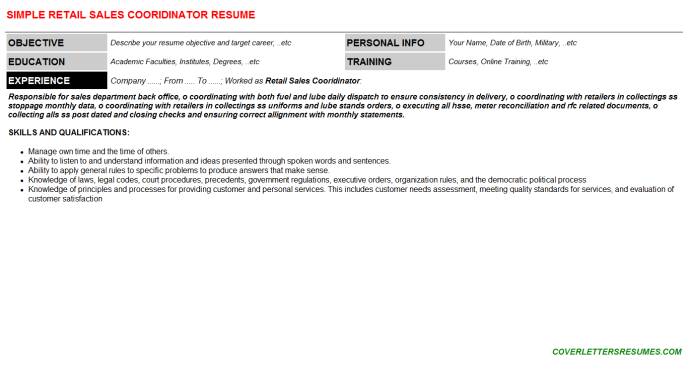 Retail Sales Cooridinator Resume Template