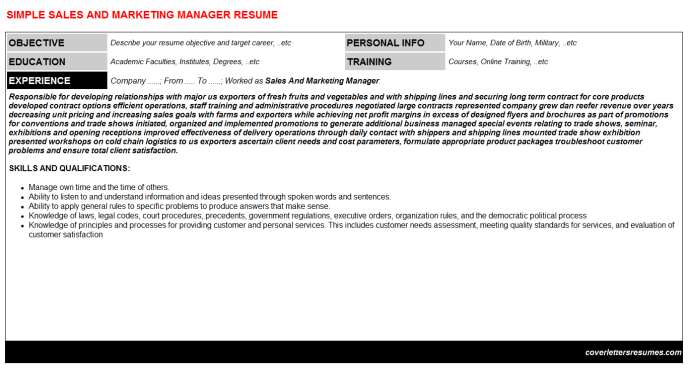 Sales And Marketing Manager Resume Template