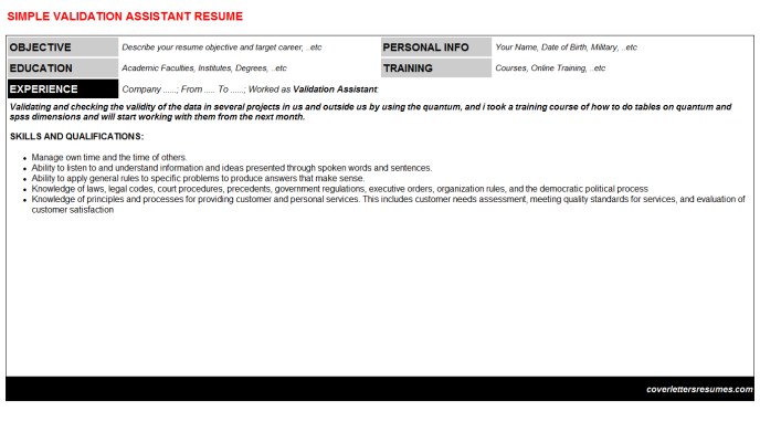 Validation Assistant Resume Template