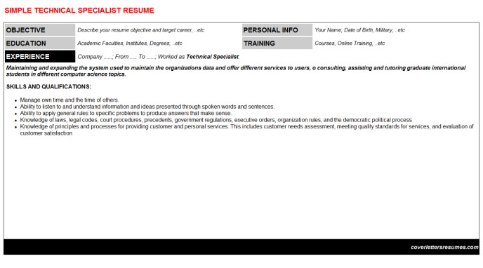 Technical Specialist Resume Template