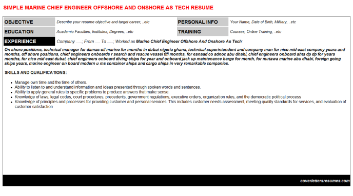 Marine Chief Engineer Offshore And Onshore As Tech Cv Cover