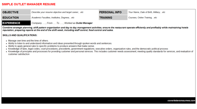 Outlet Manager Resume Template
