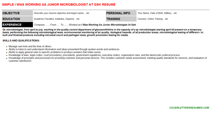 I Was Working As Junior Microbiologist At Gsk Resume Template 104147