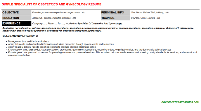 Specialist Of Obstetrics And Gynecology CV Cover Letter & Resume