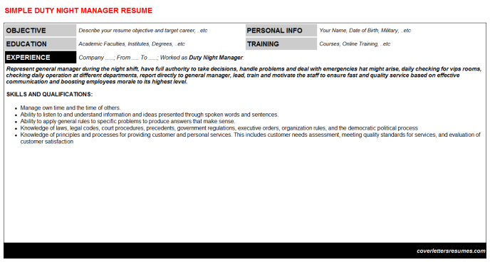 Duty Night Manager Resume Template