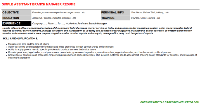 Assistant Branch Manager CV Cover Letter & Resume Template ...