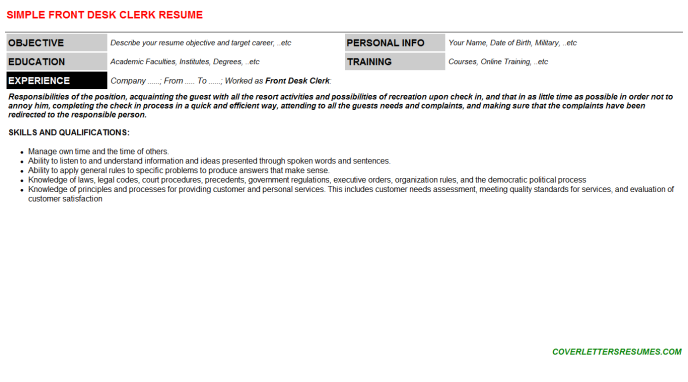 Front Desk Clerk Resume Template (#97651)