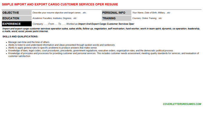 Import And Export Cargo Customer Services Oper Resume Template (#16652)