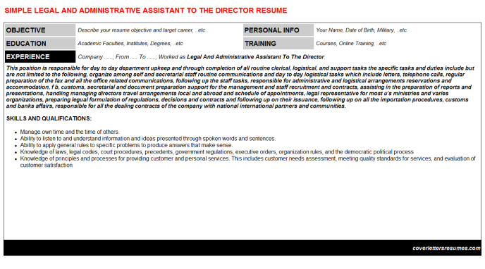 Legal And Administrative Assistant To The Director Resume Template (#1152)