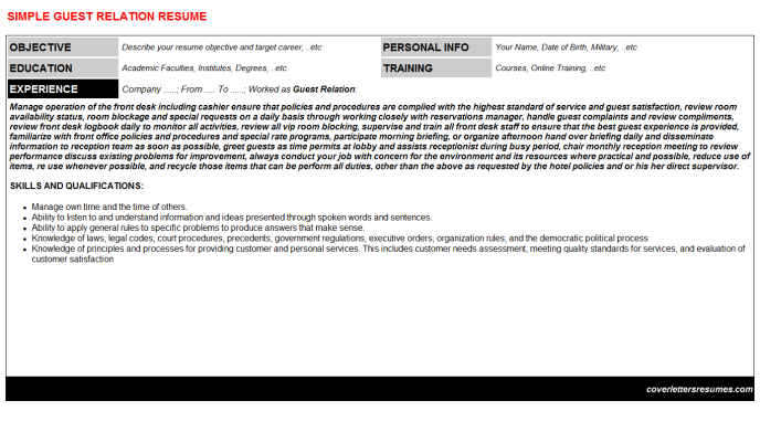 Guest Relation Resume Template