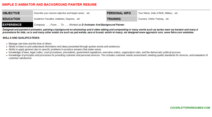 D Animator And Background Painter Resume Template
