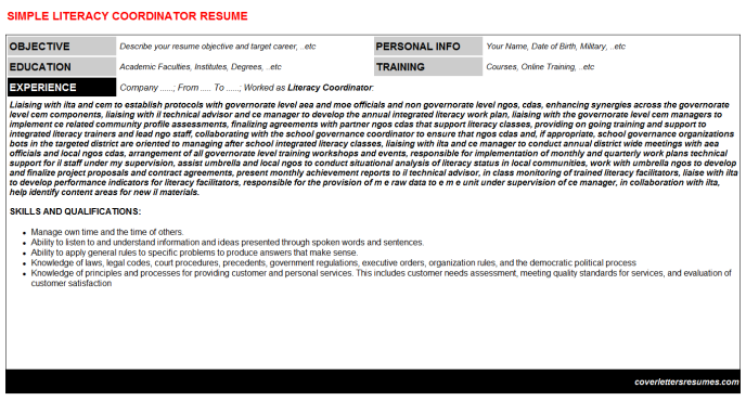 Literacy Coordinator CV Cover Letter & Resume Template