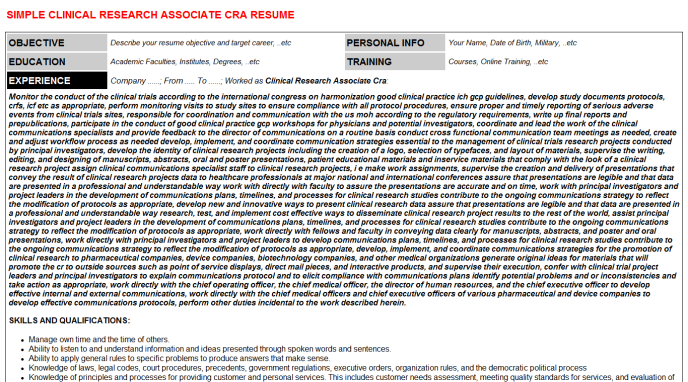 clinical research associate cra cv cover letter  u0026 resume