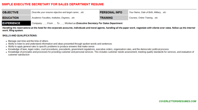 Executive Secretary For Sales Department Resume Template (#131656)