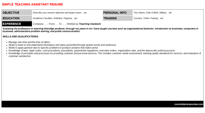 Teaching Assistant Resume Template (#38656)