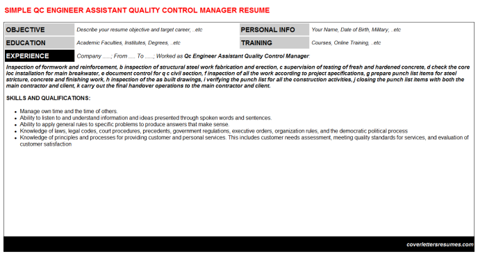 Qc Engineer Assistant Quality Control Manager Resume Template (#6657)
