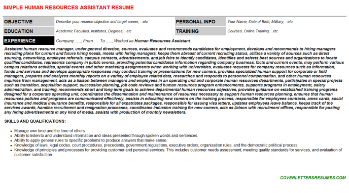 Human Resources Assistant Resume Template