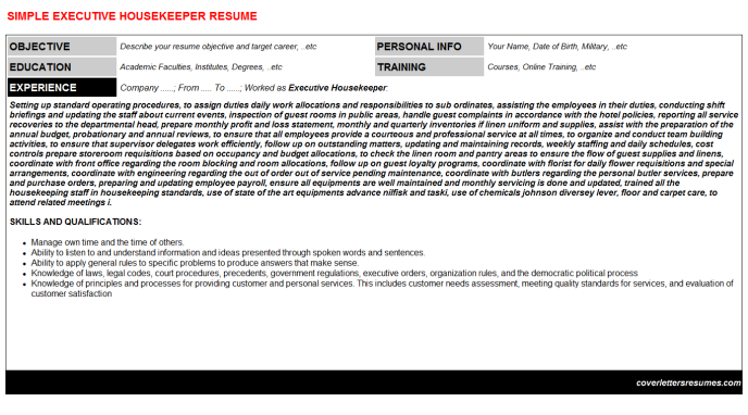 Executive Housekeeper Resume Template (#13158)