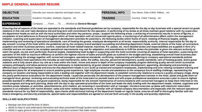 General Manager Resume Template (#47158)