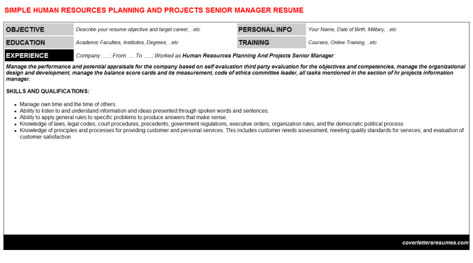 Human Resources Planning And Projects Senior Manager Resume Template (#658)
