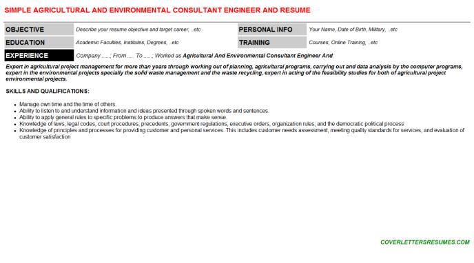 Agricultural And Environmental Consultant Engineer And Resume Template