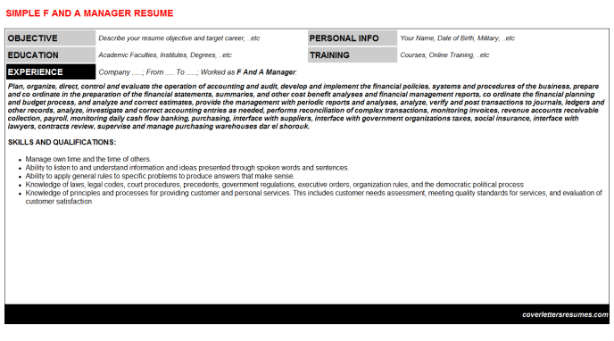 F And A Manager Resume Template