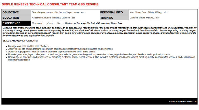 Genesys Technical Consultant Team Gbs Resume Template (#43159)